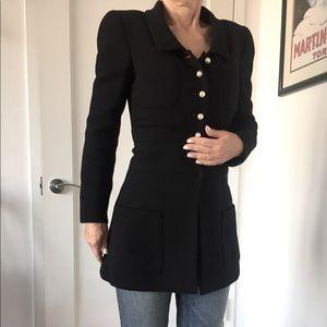 Chanel Boutique Vintage Black Jacket Pearl Butt